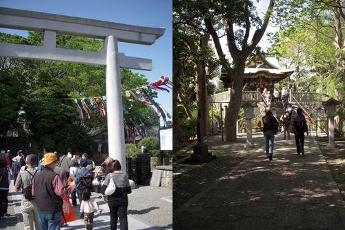 左:白旗神社鳥居 右:白旗神社参道