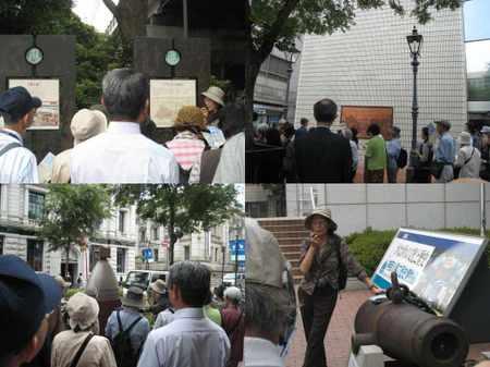 鉄の橋、ブラントン、ガス灯の碑、下岡蓮杖(日本初の写真家)、神奈川県立歴史博物館前の大砲