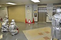 屋内消火栓及び消火器による初期消火活動訓練